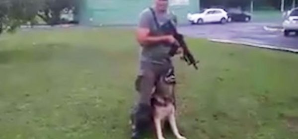 Soldier and dog are preparing for tactical training, but nobody is prepared when they bust out their own dance moves